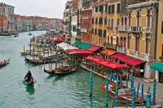 The Grand Canal Venice Italy as seen from the Rialto Bridge.