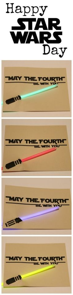 """May the Fourth be with You"" FREE printable #StarWarsDay card with glow sticks"