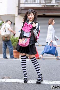 Harajuku Girl in Twintails, Sailor Top, Pleated Skirt, Striped Socks & Randoseru