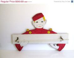 On Sale Vintage Phillip Morris, Bell Boy, Wall Hanging, Towel Rack, Tobaciana, Handmade, 1950's