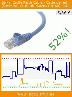 Belkin Cat5e Patch Cable - Cable de red (5 metros, 2x RJ-45 Macho, Cat-5e), azul (Accesorio). Baja 52%! Precio actual 5,66 €, el precio anterior fue de 11,88 €. http://www.adquisitio.es/belkin/a3l791b05m-blus
