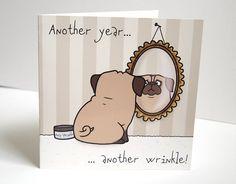 Pug Birthday Greeting Card by creaturekebab on Etsy, £1.50
