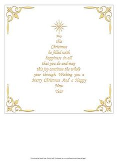 Christmas insert, with verse in the shape of a Christmas Tree. various colours and sizes available Fits a inch card. Verse reads, May this Christmas be filled with happiness in all that you do and may this joy continue the whole year thro Christmas Card Verses, Christmas Wishes Quotes, Christmas Card Messages, Neighbor Christmas Gifts, Christmas Sentiments, Card Sentiments, Xmas Cards, Christmas Greetings, Christmas Card Wording