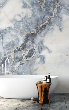 White Marble Stunning White Marble wall mural from Wallsauce. This high quality White Marble wallpaper is custom made to White Marble Bathrooms, Bathroom Wallpaper Marble, Marbel Bathroom, Bathroom Fixtures, Bathroom Stand, Minimal Bathroom, Marble Wall, Bathroom Interior Design, Bathroom Inspiration