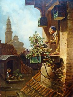 """ Beauty in Carl Spitzweg (February 1808 – September was a German romanticist painter, especially of genre subjects. He is considered to be one of the most important artists of the Biedermeier era. ""Die Dachstube"" - ""The Attic"", c. Rennaissance Art, Carl Spitzweg, Framed Art, Wall Art, William Turner, Antique Paint, Gustav Klimt, Classical Art, Oeuvre D'art"