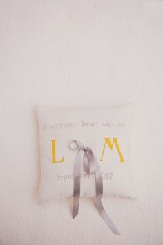 Monogrammed ring bearer pillow   photography by http://www.mariamackphotography.com/
