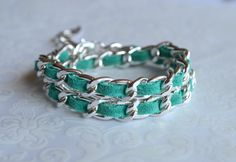 Silver Chain With Turquoise Suede Wrap Bracelet  by TheKsecret