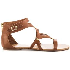JustFab Women's Salia - Cognac ($55) ❤ liked on Polyvore featuring shoes, brown, vegan leather shoes, justfabulous, brown shoes, synthetic shoes and flat shoes