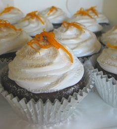 Gluten free Jaffa Cupcakes. With orange buttercream centre and toasted marshmallow topping.