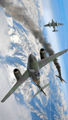 "Messerschmitt Me 262 vs North American ""Mustang"" Ww2 Aircraft, Fighter Aircraft, Military Aircraft, Fighter Jets, Luftwaffe, Messerschmitt Me 262, Me262, War Thunder, Aircraft Painting"