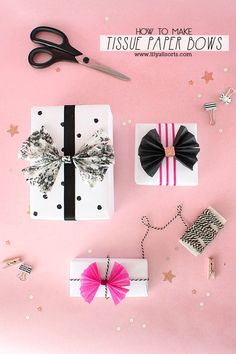 How to make Tissue Paper Bows. A pretty addition to your gift wrap & so easy to make! | 25 Days of Christmas