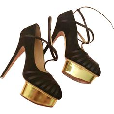 Heels Charlotte Olympia Black size 4 UK in Suede - 3582294 Black Heels, Black Suede, Shoes Heels, Pumps, Court Shoes, Charlotte Olympia, Harrods, Luxury Consignment, Wedges