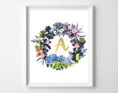 Free printable initial wall art / Láminas con iniciales imprimibles