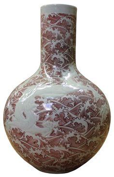 Chinese Oriental Ceramic Plum Red Wave White Dragon Vase cs2045S
