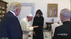 Pope Francis blessed a rosary as first lady Melania Trump held it in her hand Wednesday, d...