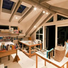 Art Studio in the attic? Equipped with skylights and french doors to a patio, absolutely!