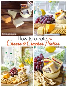 Looking for a quick way to create a fun platter for your guests or pre-dinner snack for your family? How to create a cheese and cracker platter. Cheese And Cracker Platter, Cheese Platters, Cheese And Crackers, Appetizer Buffet, Appetizer Recipes, Snack Recipes, Finger Food Appetizers, Appetizers For Party, Cheese Party