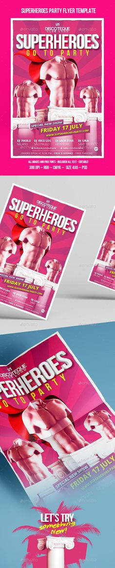 Superheroes Go To Party Flyer Template #pink #superheroes #gay #party #gayclub #male #sexy #creative #specical