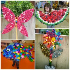Here are a bunch of plastic bottle cap crafts for kids to make! Some also use li… Here are a bunch of plastic bottle cap crafts for kids to make! Some also use lids to make fun murals in the classroom. Kids Crafts, Crafts For Kids To Make, Summer Crafts, Art For Kids, Arts And Crafts, Kids Diy, Decor Crafts, Crafty Kids, Bottle Top Art