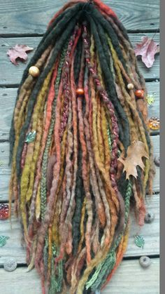 44 DE Autumn Knotty Wool Dreads & Braids Dreadlock by GypsyMarsala