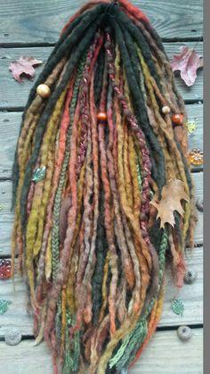 44 DE Autumn Knotty Wool Dreads & Braids Dreadlock by GypsyMarsala