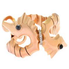 Art Deco  Bracelet with Sea Horse Motif