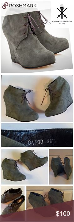 "OC Suede Platform Wedge Ankle Booties From Opening Ceremony, suede round-toe wedge booties in a grey moss color with hidden 4.5"" heels & 1"" platforms and lace-up closures. Very good used condition, wear limited to the leather outsole. Rubber heel tips are worn off (small part, back of bottom sole). Does not affect how they look on or walking on them, purely aesthetic. Suede is in excellent condition, no wear to point out. Insole is in pristine condtion. Sz marked 39.5, equivalent to a US…"
