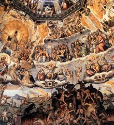 Giorgio Vasari, The Last Judgment (detail), 1572-79, fresco, Duomo, Florence. The spectacular composition is organized in four strips, while the fifth is occupied by a false loggia from which gigantic prophets look down.
