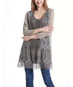 Look what I found on #zulily! Gray Lace-Accent Sheer-Sleeve Tunic #zulilyfinds