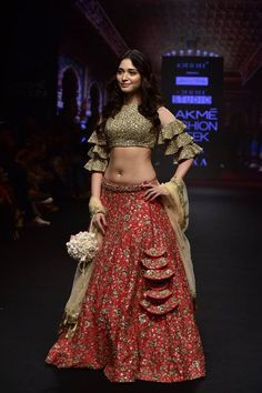 The combination of red green golden and black. looks amazing Indian Dresses, Indian Outfits, Eid Outfits, Eid Dresses, Fashion Dresses, Indian Designer Outfits, Designer Dresses, Indian Bridal Lehenga, Indian Sarees