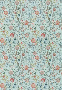 Mary Isobel Silk Blue / Pink wallpaper by Morris