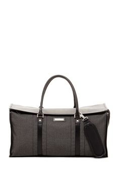 so classy looking! Hartmann Black Jacquard Twill Leather Duffel Bag   Sponsored by Nordstrom Rack.