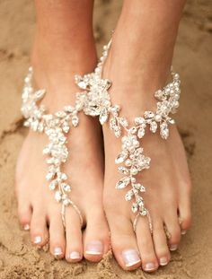 Beach Wedding Foot Jewelry Bridal Lace and Pearl Barefoot Sandals