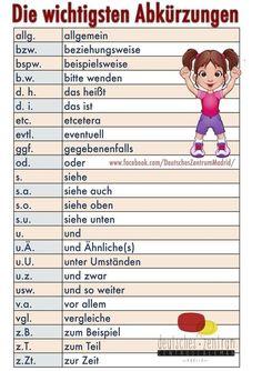 Abbreviations German vocabulary grammar German Alemán DAF a . Foreign Language Teaching, German Language Learning, Dual Language, German Grammar, German Words, German Resources, Deutsch Language, Learn German, Learn French