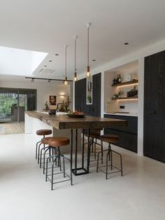 Kitchen island ideas for inspiration on creating your own dream kitchen. diy pai… Kitchen island ideas for inspiration on creating your own dream kitchen. diy painted small kitchen design – with seating and lighting Modern Kitchen Design, Interior Design Kitchen, Modern Bar, Minimal Kitchen, Interior Modern, Modern Luxury, Modern Stools, Modern Interiors, Modern Contemporary