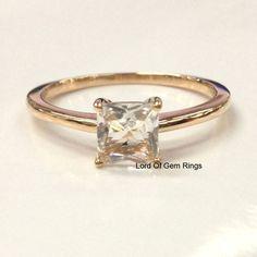 Princess Morganite Engament Ring Rose Gold - Lord of Gem Rings - 1 Diamond Wedding Rings, Bridal Rings, Morganite Engagement, Engagement Rings, Wedding Band Sets, Wedding Bells, Fashion Rings, Women's Fashion, Rose Gold