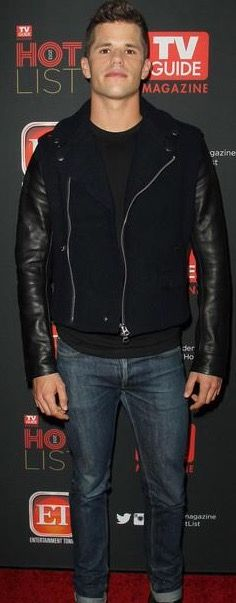 Charlie Carver, Male Models, Leather Jacket, Jackets, Fashion, Men Models, Studded Leather Jacket, Down Jackets, Moda