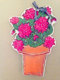 Flower Cut Out, Burlap Crafts, Geraniums, Wood Doors, Custom Paint, Door Hangers, Etsy Shop, Cut Outs, Hdr