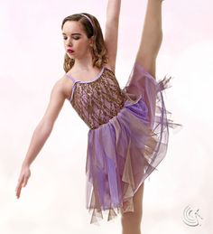 Curtain Call Costumes® - Lullaby Contemporary dance costume with sequin lace bodice with sheer motion mesh and tricot layered skirt
