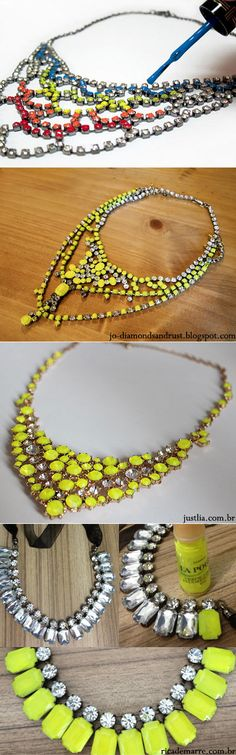 Want a fun & fashion Tom Binns's neckless? So, DIY… All you need is an old neckless, neon nail polish, cotton swab and voile!  - image 2 -