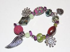 Handmade pink and green beaded stretch bracelet. by GabiLuBoutique, $24.00