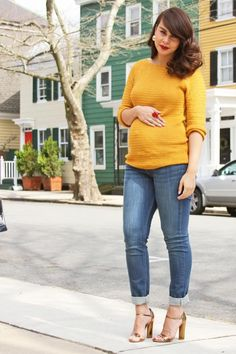 A stylish fall maternity outfit.  I love the mustard color.
