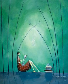 A place of solitude offers a retreat. Mind and body can retire from confusion and conflict to a sanctuary of clarity and harmony ~ Anthony Lawlor ~ Art by Crispin Korschen New Zealand Art, Nz Art, World Of Books, Texture Painting, Whimsical Art, Watercolor Print, Unique Art, Reading, Book Art