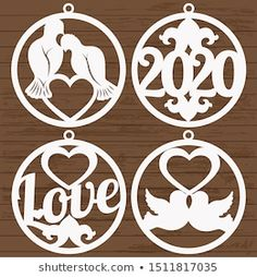 Patterns of Christmas ornaments for laser cutting. Laser Cut Wood, Laser Cutting, Wood Ornaments, Christmas Ornaments, Valentine Crafts, Valentines, Christmas Stencils, Decoupage, Wood Gifts