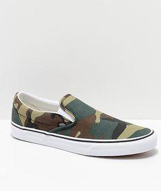 150cc30a4bd Vans Slip-On Woodland Camo Skate Shoes