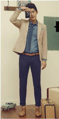 Blue trousers + beige blazers