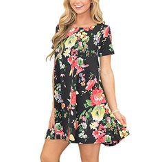 f9756034e36f Mounter 1 Cent Items Women s Dress 2018 New Women s Summer Short Sleeve Floral  Dress Casual Shirt