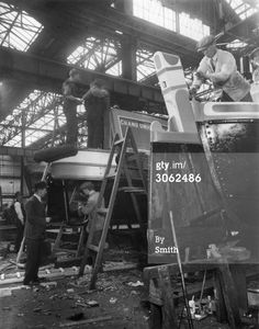 Grand Union Canal motor barges under construction at the yard in North Woolwich. Get premium, high resolution news photos at Getty Images Canal Barge, Canal Boat, Old Time Photos, Old Boats, London Pictures, Narrowboat, Historical Images, Old London, Boat Building