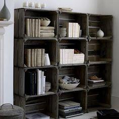 Wood apple crate bookshelf