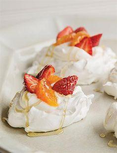 Mini-Pavlovas with Strawberries, Orange, & Honey